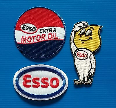3 LOT ESSO GAS/OIL Embrodered Iron Or Sewn On Patches Free Ship