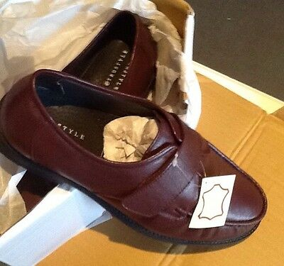 Brand New Mens Size 9 Brown Leather Shoes!! Velcro Fastening!!! In Box!!!