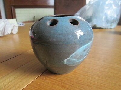 Blue Fishley Holland studio pottery potpourri/incense/candle/posy holder