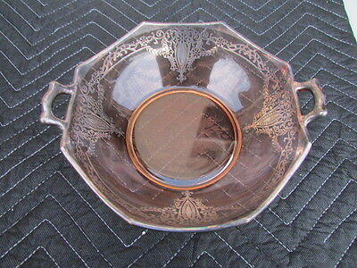 "Vintage English Pink Glass Bowl With Silver Overlays 9 3/4"" Wide x 3 1/2"" Tall"