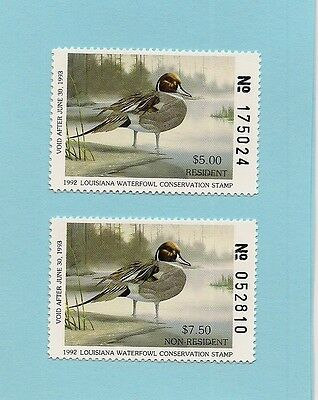 1992 Louisiana Duck Stamps - Both Resident & Non-Resident - Mnh