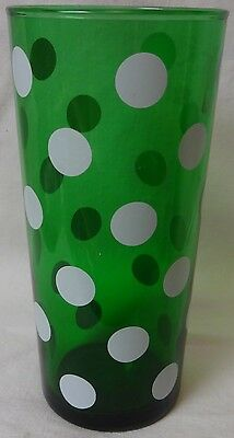 "Forest Green with White Dots Tall Ice Tea Tumbler 6 7/8"" Set of 3 Fire King"