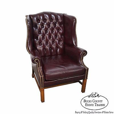 Quality Tufted Oxblood Leather Chippendale Style Wing Chair