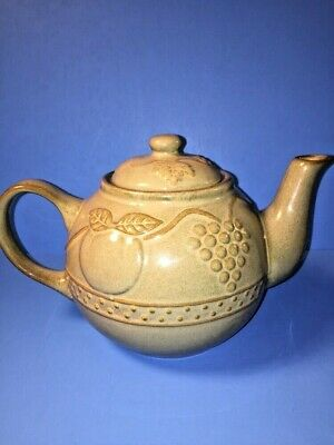 Ceramic Teapot Tuscany Style Embossed Fruits Grapes Green Brown