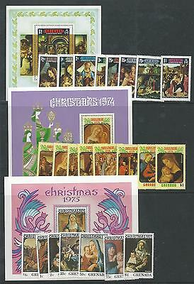 Grenada - 1973 to 1975 - Three different Christmas sets - Un-mounted mint