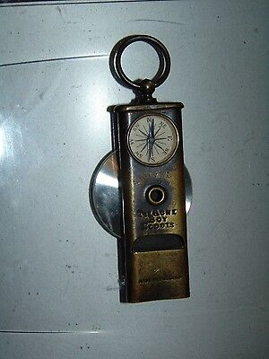 Rare Brass The Acme Boy Scout Whistle With Compass Made In England