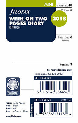 Filofax 2018 Mini size Diary Week On Two Pages Refill Insert 18-68121