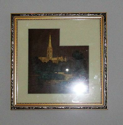 Vintage Print or etching  of Salisbury Ccathedral 28.5 x 28.5cm  Framed gold