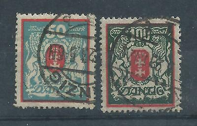 Danzig - 1922 Definitives - Two different values - Postally Used