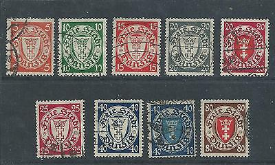 Danzig - 1924 - Arms Definitives - Nine different values - Postally Used