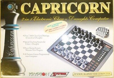 Capricorn 2 in 1 Chess & Draughts Electronic Computer Teacher Learning Board VGC