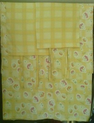 IKEA Queen/Full Duvet Cover & Shams, Yellow Plaid/Floral, 100%Cotton, Self Ties