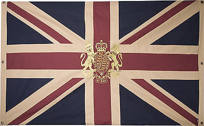 Large Vintage Union Jack Flag with Royal Coat of Arms Embroidered Crest