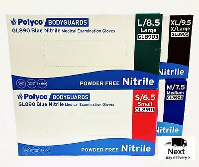 Polyco Bodyguard Blue Nitrile Disposable MEDICAL Garage Tattoo Gloves