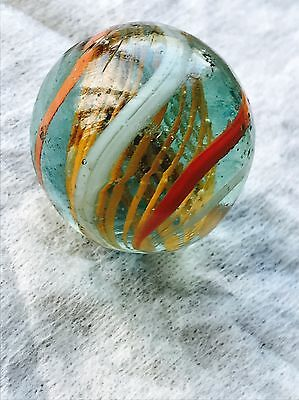 Large Antique Handmade Swirl Marble