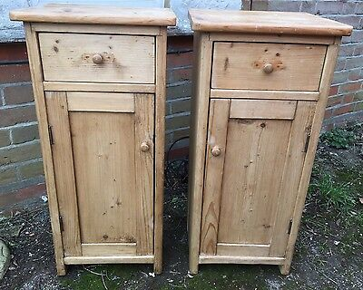 Pair Antique Vintage Solid Pine Bedside Cabinets Tables Pot Cupboards Drawers