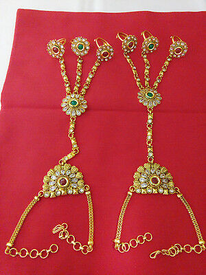 New Indian Fashion Jewelry Bracelet with Ring Bollywood Ethnic Gold Traditional