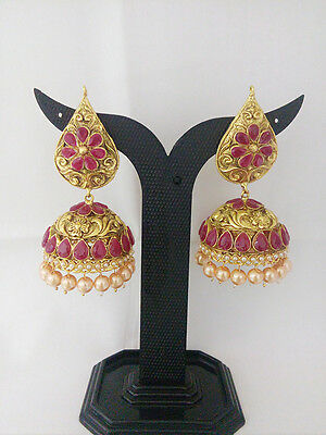 New Indian Jewelry Antique Jhumka Bollywood Ethnic Gold Plated Traditional