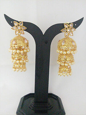 New South Indian Jewelry Antique Jhumka Bollywood Ethnic Gold Plated Traditional