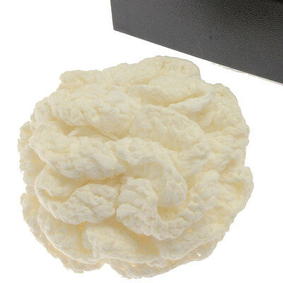 Authentic CHANEL White knit Corsage Camellia Brooch 01P used in Japan