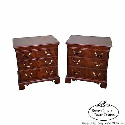Flame Mahogany Pair of Chippendale Style Chests Nightstands by Hickory Chair