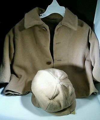 Antique Childs Camel Hair & Wool Winter Coat Hat. Needs repair. See pics.