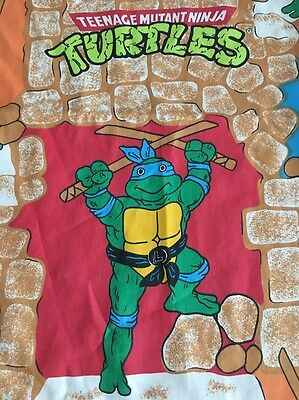 1988 Mirage Studios TMNT Twin Flat Bed Sheet Teenage Mutant Ninja Turtles
