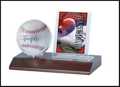 Ultra Pro Baseball & Card Display Stand with Wooden Base