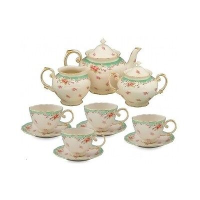 Tea Set English Style GREEN 11 pc Porcelain Teapot Coffee Creamer Vintage Cups