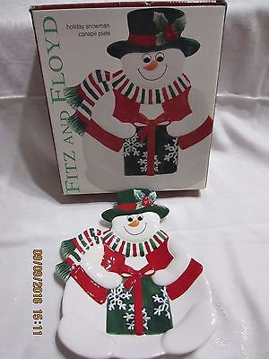 Fitz and Floyd  Holiday Snowman Canape Plate***B***
