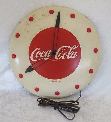 "Art Deco Coca Cola Electric Advertising Clock ""WORKING"" 1940's Telechron USA"