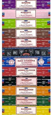 Satya Genuine SATYA SAI BABA - NAG CHAMPA VARIETY MIX 12 X 15G BOXES OF INCENSE