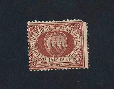 San Marino 1877 15c red SG 21 MH with gum