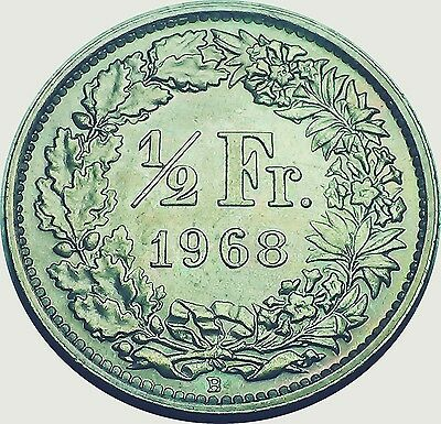 Switzerland Suisse Helvetia   Cu - N   1/2 franc 1968 toned UNCIRCULATED  (5951)