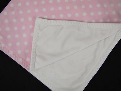Beansprout Pink White Polka Dot Baby Blanket Security Plush Lovey Girl Soft EUC