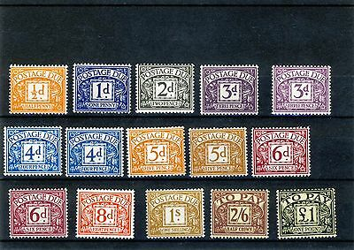 15 UK Pre-decimal 'Postage Due/To Pay' Stamps MH incl £1 Black on Yellow