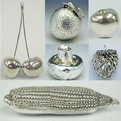 Silver Fruits Miniature 925 Sterling Silver Unique Collectible Home Decor Gift
