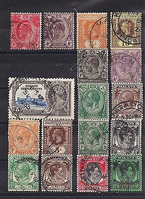 Straits Settlements - KEVII  KGV KGVI Lot of old stamps (ref 3861)