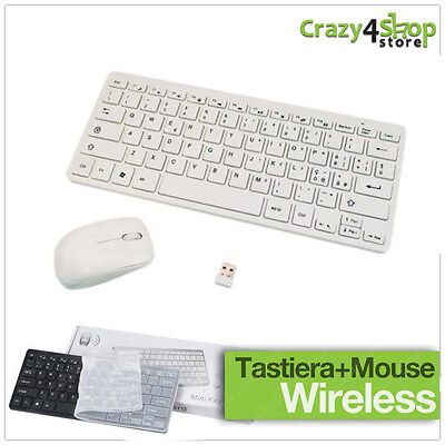 Kit Completo Tastiera + Slim Mouse Ottico Wireless Senza Fili 2.4 Ghz Mini Nuovo