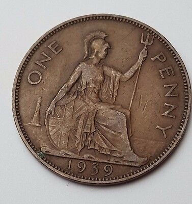 1939  - Copper - One Penny - Great Britain - King George VI - English UK Coin