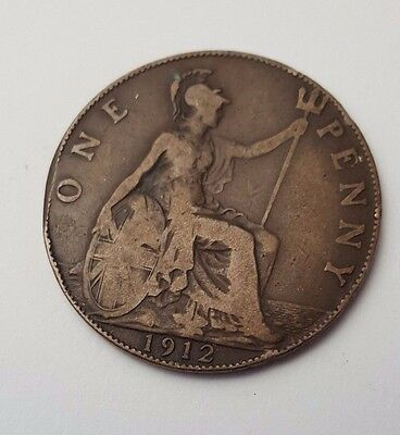 1912 - Copper - One Penny - Great Britain - King George V - English UK Coin