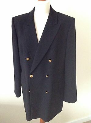Black wool double breasted oversized blazer jacket 16 St Michael vintage M&S
