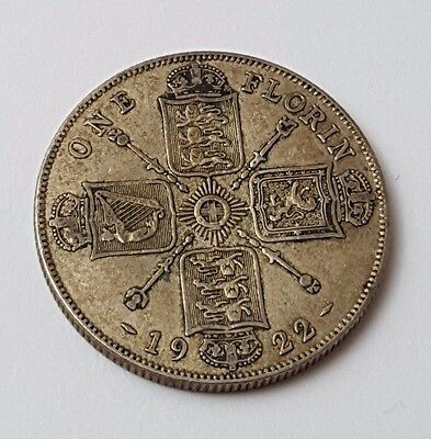 1922 - Silver - Two Shillings / Florin - Great Britain - King George V - UK Coin