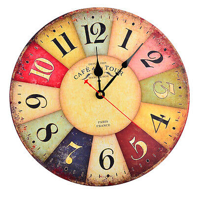 12 Inch Vintage Colorful Paris French Country Tuscan Style Wooden Wall Clock