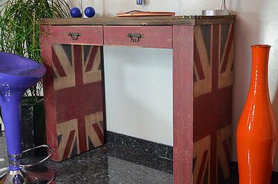 Table Console Bureau Bois Style Ancien Vintage Retro Drapeau UK Anglais Marron