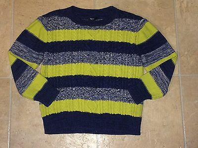 EUC Boys Gap Kids Cable Knit Sweater Holiday Small 6-7 S Striped Green Blue