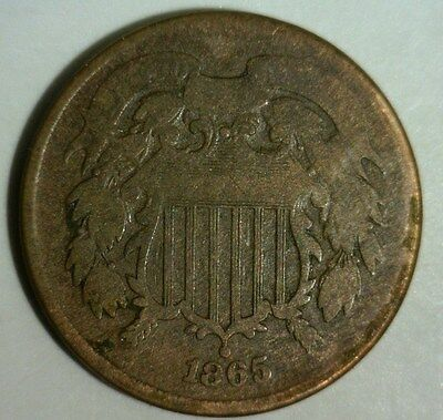 1865  Two Cent Piece   Circulated  #a   Nice Looking Coin!!