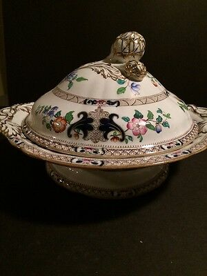 Antique Minton Covered Vegetable Serving Dish English Asian Pattern