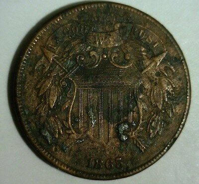 1865  Two Cent Piece   Circulated  #b   Nice Looking Coin!!