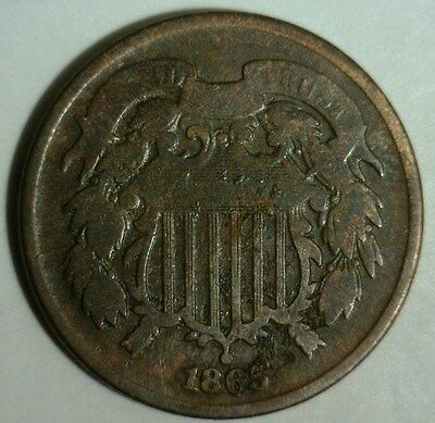 1865  Two Cent Piece   Circulated  #c   Nice Looking Coin!!